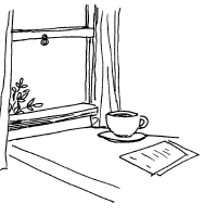 Tea in the window at home