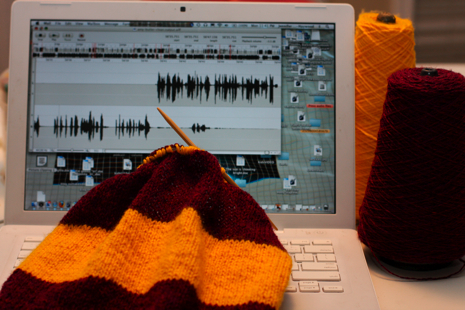 I started knitting this Harry Potter scarf a couple years ago and put it aside about three stripes in.