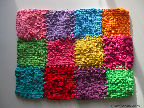 On the bright side a patchwork potholder rug tutorial for How to make rugs out of old t shirts