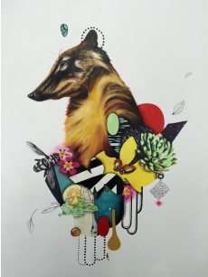 Kelly Allen's collage paintings are available for purchase through LaFontsee Galleries, 833 Lake Dr. SE in Grand Rapids.