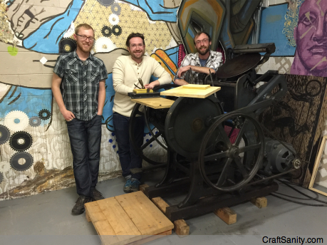 From left, Anthony Mead, Steven Rainey and Kyle Isbell co-owners of Dinderbeck, a Grand Rapids community printshop, pose by the Chandler & Price press they use to complete custom print jobs. Open studio sessions are held from 6-10 p.m. Monday, Tuesday and Thursday, and on weekends by appointment at 323 Straight St. SW in Grand Rapids. Visit  for upcoming workshop information.