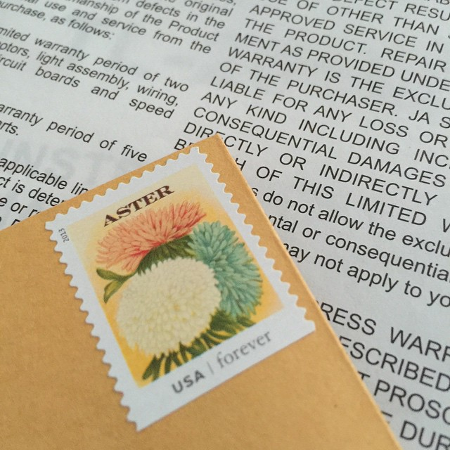 Finally remembering to fill out my sewing machine warranty #juki #postage #snailmail #forever