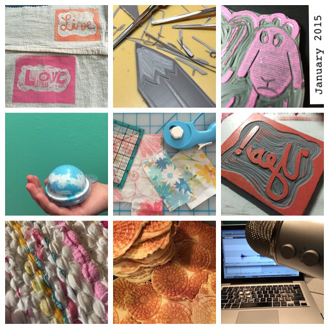 Here are some of the things I made in January 2015.  #JanuaryMakes #printmaking #carving #sewing #podcasting #weaving #quilting #baking #bathbombs